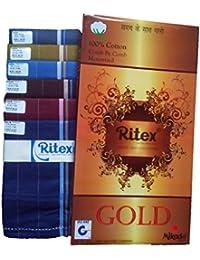 Ritexダーク色100コットンハンカチfor men-パックof 10 pcs。