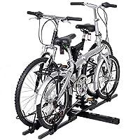 BESTChoiceForYou 自転車 ヒッチマウントキャリア 自転車 ヒッチキャリア ラックマウント 2インチ トレーラー バンパー スクエア RV キャンパー 2台 折りたたみ式自転車 ブラック 2フィート
