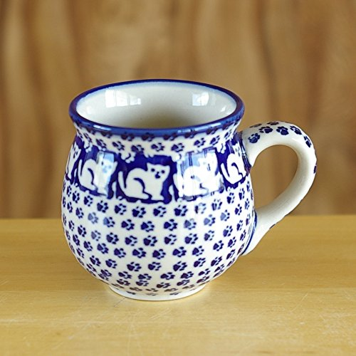 ポーリッシュポタリー (ポーランド食器) ボレスワヴィエツ 陶器(BOLESLAWIEC) マグ マグカップ S 200ml コーヒーカップ ティーカップ 子猫と足あと K67-KOT6