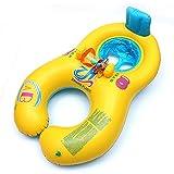 KAHE うきわ 親子 赤ちゃん 夏 一緒水遊ぼう タンデムリング ボート 赤ちゃんも安心 2人用 イエロー