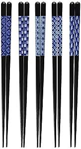 イシダ お箸 客用 食洗機対応 柄違い5膳組 日本製 藍化粧 天然木 23cm