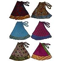 WEVEZ Two Layer Magic Wrap Around Skirt/Dress - Silk Sari Wrap Print 3 Pack