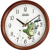 リズム時計 となりのトトロ キャラクター 掛け時計 トトロ M27 木 茶 半艶仕上 8MGA27RH06