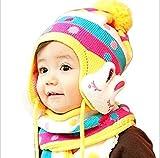 1歳 ~ 4歳児用 可愛い 毛糸 の 帽子 と マフラー セット 帽子 には  ウサギ の アクセント (ブルー)