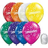 10 Pack 28cm Congratulations Star Jewel Assorted Colours Latex Balloons with Matching Ribbon