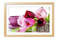 木製の枠 ズックの印刷する絵画 家の壁の装飾画 ポスター (40x60cm 材木色) バスケット、チューリップ、ピンクの花