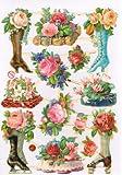 ドイツ製ペーパースクラップシート クロモス  花 薔薇 ブーツ 靴 花瓶 フラワー