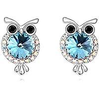 White Gold Animal Owl Stud Earrings Hypoallergenic for Girls Kids Women Christmas Gifts Crystal Swarovski