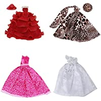 Dovewill 4個セット バービー人形対応  ウェディングドレス  ドレス ストラップレス レイヤードレス ストラップレス ヒョウドレス 飾り ギフト