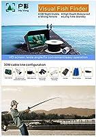 140度広角シングルレンズビデオフィッシュファインダー水中フィッシュファインダー釣りカメラ、200W 6 LEDナイトビジョンライト防水IP7、深さ50Mまで