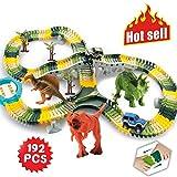 (192 Pcs Dinosaur Toys Race Track Set) - HOMOFY Dinosaur Toys 192 Pcs Race Car Track Sets Jurassic World Flexible Tracks, 3 Dinosaurs,2 Led Cars,1 Tree and 2 in 1 Tunnel for 2 3 4 Year Old Girls and Boys (192 pcs Race Track Set)