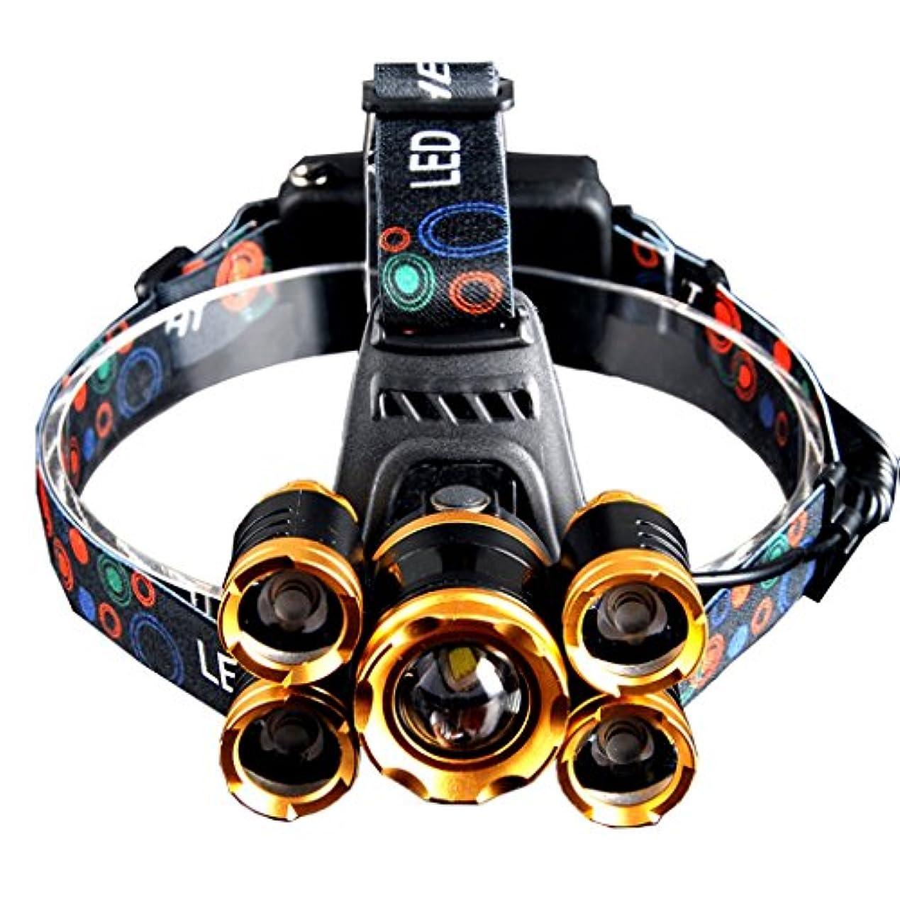 ピン苦悩豊富なヘッドライト スーパーブライトヘッドマウントセンサーヘッドライトLED誘導防水ヘッドライトライト充電スーパーブライト釣り懐中電灯サーチライト (Size : Five heads)