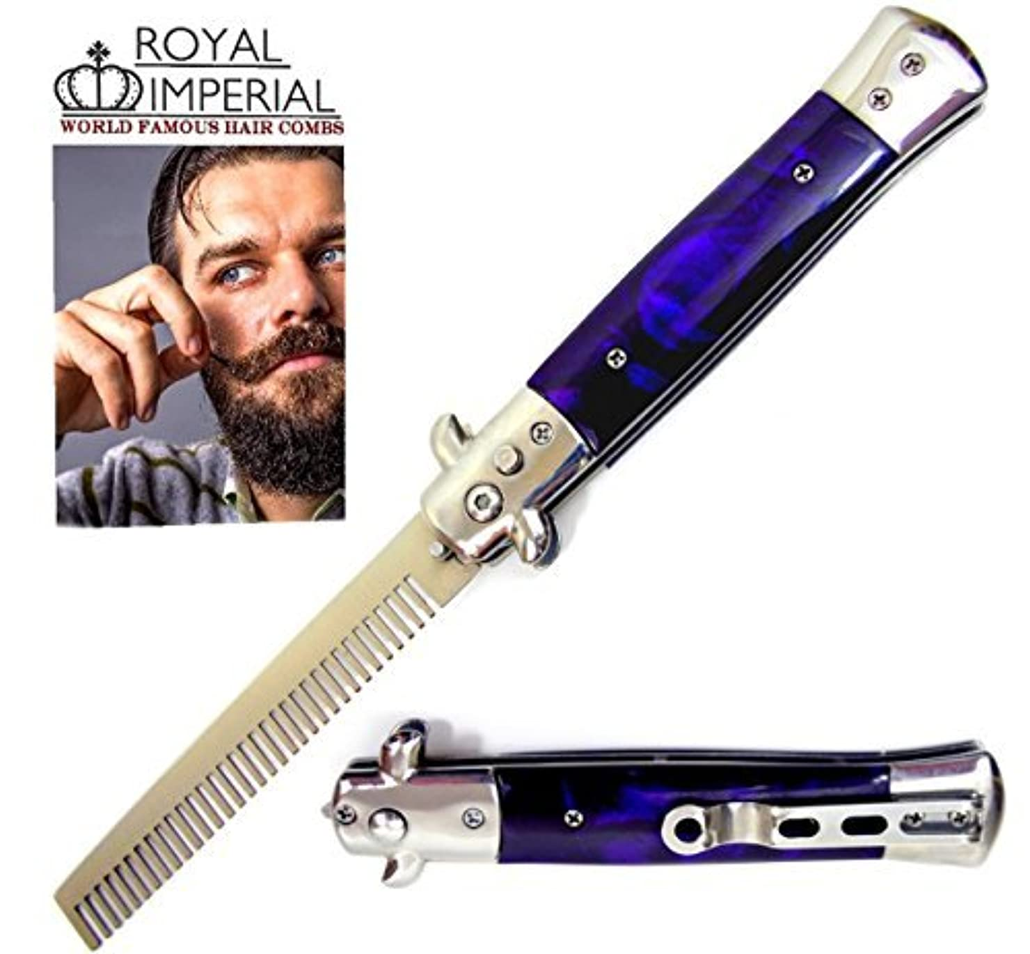 署名読書在庫Royal Imperial Metal Switchblade Pocket Folding Flick Hair Comb For Beard, Mustache, Head PURPLE THUNDER Handle...