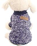 ふく福 可愛い ペット小中型犬猫用 Tシャツ セータードッグウェア 暖かい 防寒 コート春秋冬服 綿製 お散歩お出かけウェアに (M, ダークブルー)