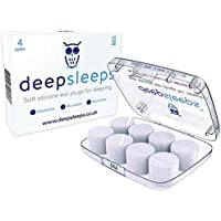 Ear Plugs for Sleeping by Deep Sleeps - 4 Pairs - Reusable & Custom Fit Soft Silicone Earplugs - The Best Ear Plugs for Sleeping