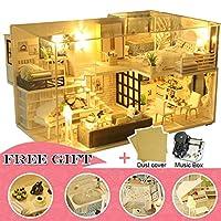 DORA⊕BRSDIY ドールハウス木製ドールハウスミニチュアドールハウス家具キットカサ音楽 Led おもちゃ子供の誕生日ギフト M21