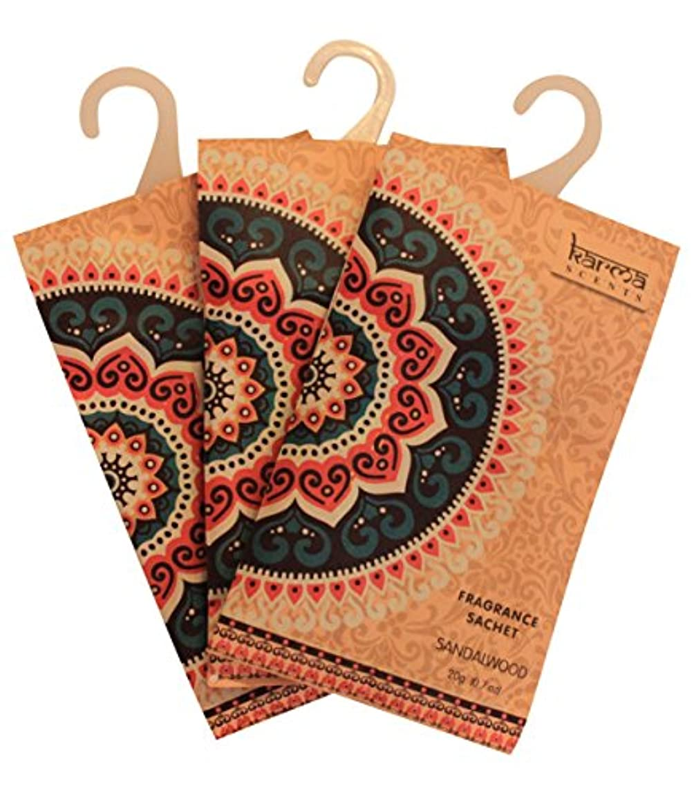 (Sandalwood) - Premium Sandalwood Scented Sachets for Drawers, Closets and Cars, Lovely Fresh fragrance, Lot of...