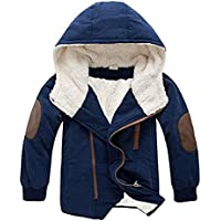 Boys Winter Fleece Jacket Coat Kids Warm Thicken Hoodies Outwear Overcoat Oblique Zipper