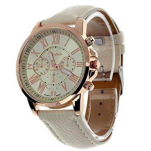 ZooooM クロノグラフ ラウンド デザイン アナログ 腕 時計 フェイク レザー ベルト ファッション アクセサリー フォーマル カジュアル ビジネス メンズ レディース 男性 女性 男 女 兼 用 オリジナル クロス 付 ( ベージュ ) ZM-CLWC-BE
