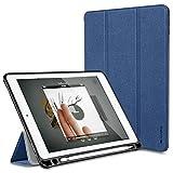 iPad Pro 9.7 ケース Apple Pencil収納 iVAPO iPad Proスマートカバー スタンド機能 手帳型カバー 三つ折タイプ PU+TPU 傷つけ防止 防塵 iPad Air 2対応 ブルー
