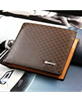 AZONT メンズ用二つ折り財布 PUレザー 短財布 カード収納 格子柄 お札入れ
