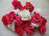 ローズ バラ 造花 花 部分のみ 直径 8センチ 赤 ピンク 白 60個 セット (セットG)