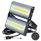 LED投光器,LED作業灯,100W 1400W相当 COBチップ 13600LM 240度 看板灯 街路灯 駐車場灯 昼光色 防水 アース付き 1年保証