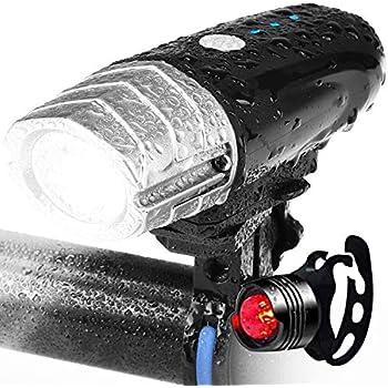 自転車 ライト、ZENBRE Vanite 3 USB充電式 自転車ヘッドライト/IPX6防水/テールライト付き/4モード【高輝度/懐中電灯兼用/2200mAH/360度回転/超小型/アウトドア/防災】(シルバー)