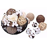 (Brown2) - Bag of Assorted Decorative Spherical Natural Woven Twig Rattan and Cotton Bowl and Vase Filler, Balls Spheres Orbs