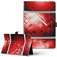 igcase d-01J dtab Compact Huawei ファーウェイ タブレット 手帳型 タブレットケース タブレットカバー カバー レザー ケース 手帳タイプ フリップ ダイアリー 二つ折り 直接貼り付けタイプ 001003 その他 模様 赤