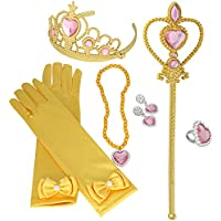 XiangGuanQianYing Tiaras and Crowns for Little Girls 8Pcs Set with Princess Wands Princess Gloves Princess Tiara Necklaces Earring and Ring