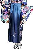 卒業式 袴 女性 ぼかし 刺繍 薔薇 ブーケ 紐下87cm-99cm (S, 紺碧)