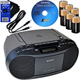 HeroFiber Sony Portable Cd Player Boombox with Am Fm Radio & Cassette Tape Player 6 Batteries Cd Maintenance Kit Auxiliary Ca
