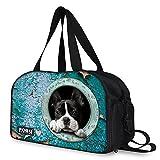Ledback ボストンバッグ かわいい ねこ柄 犬 萌ちゃん 豊富な柄 トラベルバッグ 3way ショルダー付 大容量 2~3泊程度 旅行 ビジネス 軽量 個性的なデザイン 多機能 スポーツバッグ靴入れ サブバッグ