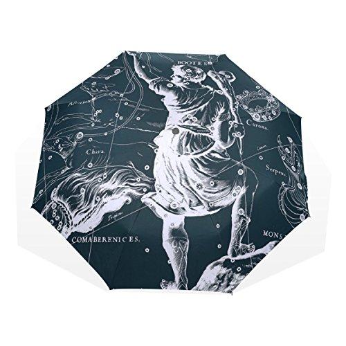 HMWR(ヒマワリ) おしゃれ 神話 星座柄 宇宙柄 星空 うしかい座 雑貨 レディース メンズ 子供用 三つ折り傘 折りたたみ傘 頑丈な8本骨 耐強風 軽量 撥水性 大きい 手動開閉 雨傘 日傘 晴雨兼用 収納ケース付 携帯用 かさ