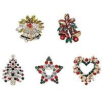 Semoic 5個 /パックラインストーンクリスタルクリスマスブローチピンセットクリスマス用装飾オーナメントギフト