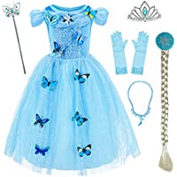 Princess Cinderella Costume Girls Dress up with Accessories 6-7 Years (Blue 130cm)