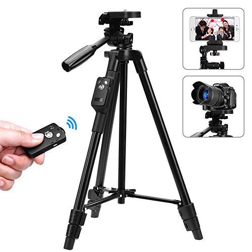 スマホ三脚 ビデオカメラ 三脚 一眼レフカメラ 軽量 ミニ 3WAY雲台 4段階伸縮 360回転 Android対応 コンパクト アルミ製 Bluetoothリモコン 収納袋付き 旅行用 持ち運びに便利