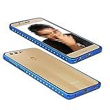 【M&Y】Huawei Honor 8 バンパー ファーウェイ オナー8ケース Huawei Honor 8アルミカバー Honor 8メタルケース オナー8用のおしゃれなキラキラ ラインストーンのアルミバンパー「全3色」 MY-HN8-PY-61007 (ブルー)