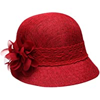 Women's Gatsby Linen Cloche Hat with Lace Band and Flower - Red