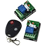 12V 10A One Channel Relay RF Wireless Remote Control 2 Receivers Momentary Switch