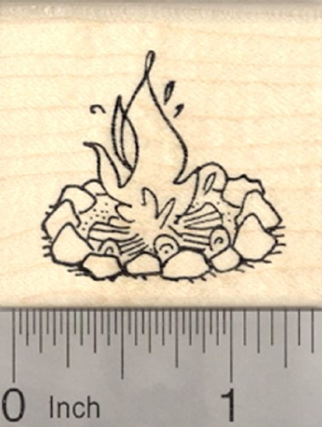 Campfire Rubber Stamp, Camping, Outdoor Adventure
