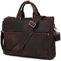 """Iswee Cow Leather Briefcase Business Messenger Bag 16"""" Laptop Shoulder Bag Traveling Computer Bag for Men"""