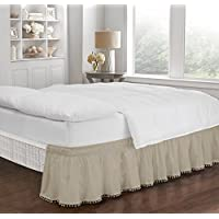 Ellery Homestyles Easyfit調節可能なポンポン付きフリンジベッドスカート Twin/Full ブラウン 16310BEDDTFUCML