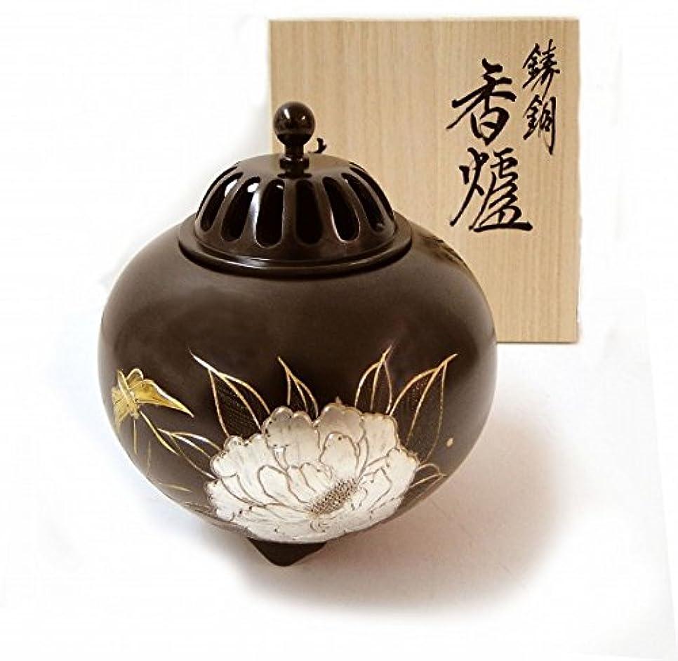 ブラウン文字構成する『平丸香炉?牡丹』銅製