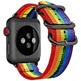 42mm 44mm Rainbow Compatible Apple Watch Band Nylon Colorful LGBT Black NATO Buckle iWatch Band Series 4 Series 3 Series 2 Se