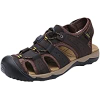 f9cf516fcd2 HW-GOODS Men s Leather Fisherman Sandals Outdoor Sports Casual Closed Toe  Water Shoes