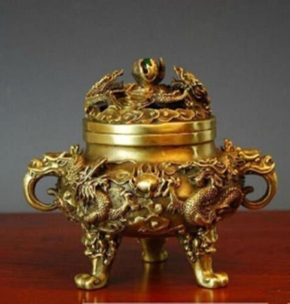 コレクティブル中国の真鍮の九ドラゴンズ九龍香のバーナー (2)