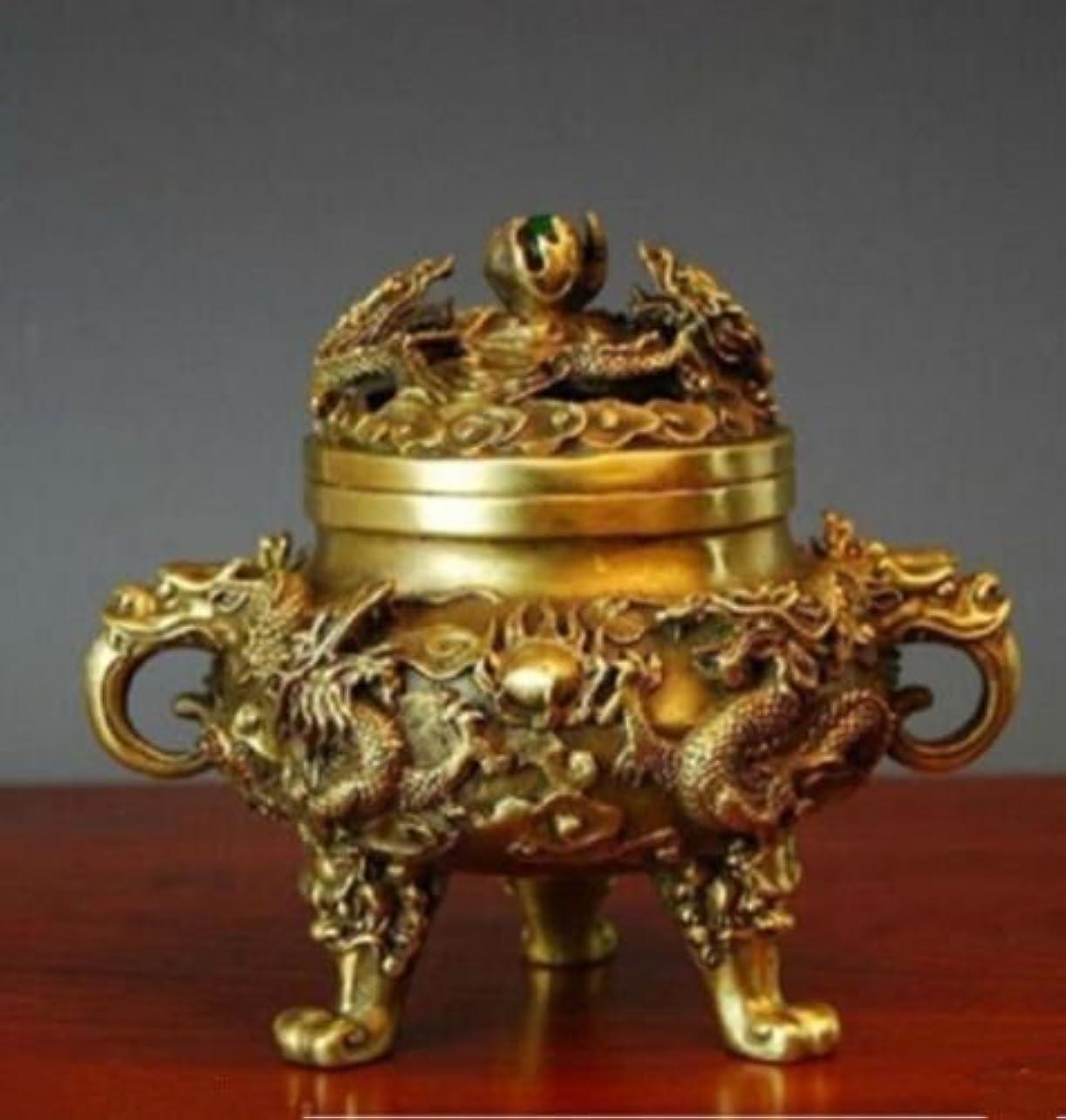 伸ばす静かに連隊コレクティブル中国の真鍮の九ドラゴンズ九龍香のバーナー (2)