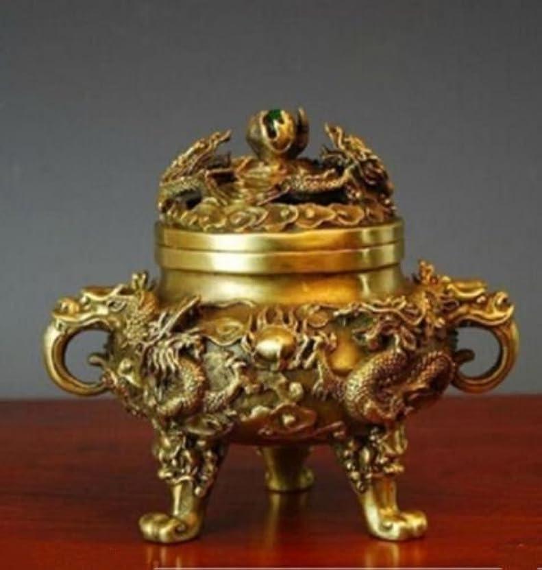 家畜登録エチケットコレクティブル中国の真鍮の九ドラゴンズ九龍香のバーナー (2)
